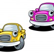 Stock Vector: Funny cartoon cars with eyes