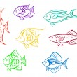 Colorful aquarium fishes set — Stockvectorbeeld