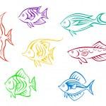 Colorful aquarium fishes set — Stock Vector #10676226