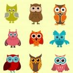 Doodle corujas — Vetor de Stock  #8043653