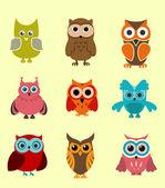 Doodle owls — Stockvector