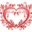Valentine heart in floral style — Stockvectorbeeld