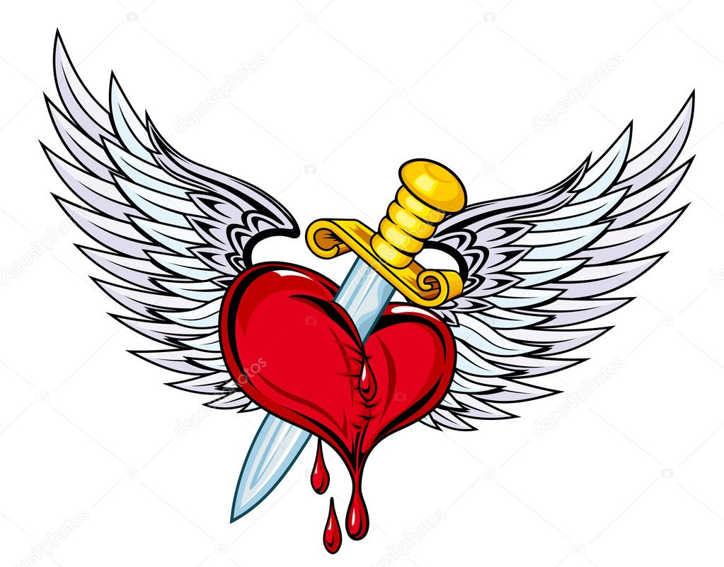 Heart with sword and wings in retro style for tattoo design — Stock Vector #8129024