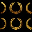 Golden laurel wreathes set — Imagen vectorial