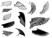 Set of heraldic wings — Stock Vector