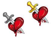 Cartoon heart with dagger — Stock Vector
