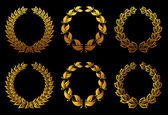 Golden laurel wreaths set — Stock Vector