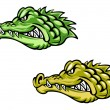 Green and brown crocodiles — Stock Vector