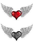 Medieval heart tattoo — Stock Vector