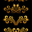 Vintage golden flowers - Stock Vector