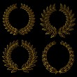 Golden laurel wreaths — Stok Vektör