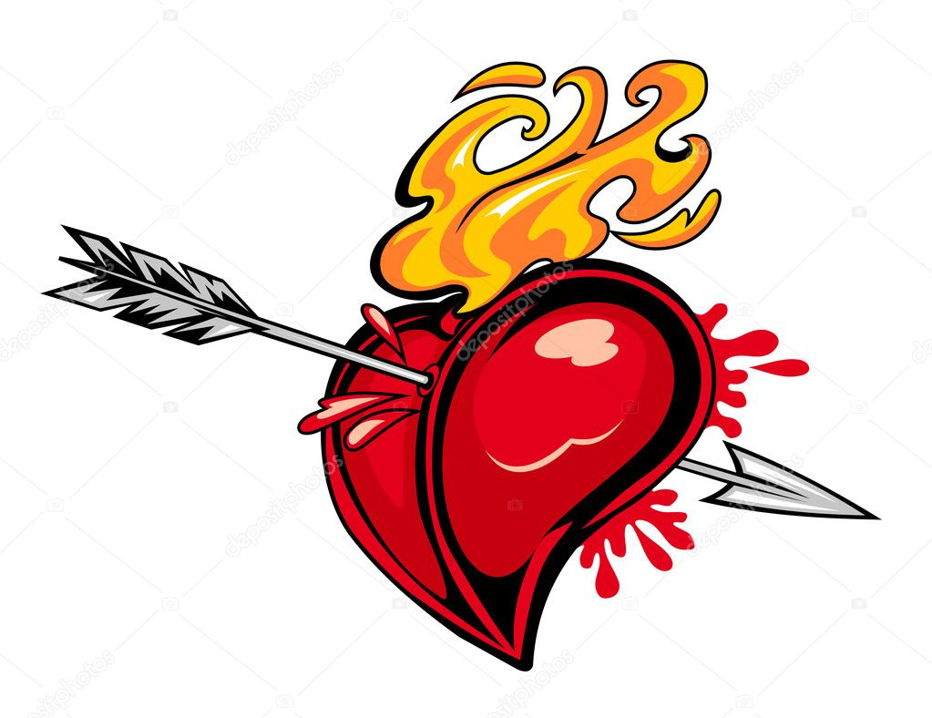 Red heart with arrow for tattoo design — Stock Vector #8987688