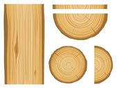 木材纹理和元素 — 图库矢量图片