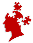 Head with puzzles — Stockvector