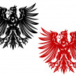 Red and black heraldry eagles — Stock Vector