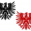 Stock Vector: Red and black heraldry eagles