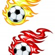Football ball in fire flames — Stock Vector