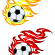 Stock Vector: Football ball in fire flames