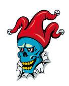 Clown skull in hat — Stock Vector