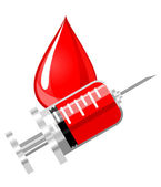 Blood drop and syringe — Stock Vector