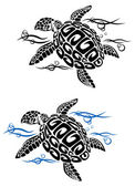 Turtle in sea water — Stock Vector