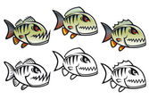 Angry cartoon piranha fish — Stock Vector