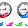 Clock icons and glossy arrows — Imagen vectorial