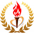 Flaming torch in laurel wreath - Stock Vector