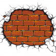 Damaged brickwall — Stock Vector