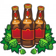 Beer bottles and hop — Stock Vector #9452225