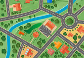 Map of suburb village — Stock Vector