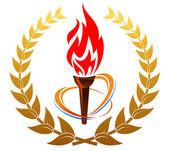 Flaming torch in laurel wreath — Stock Vector