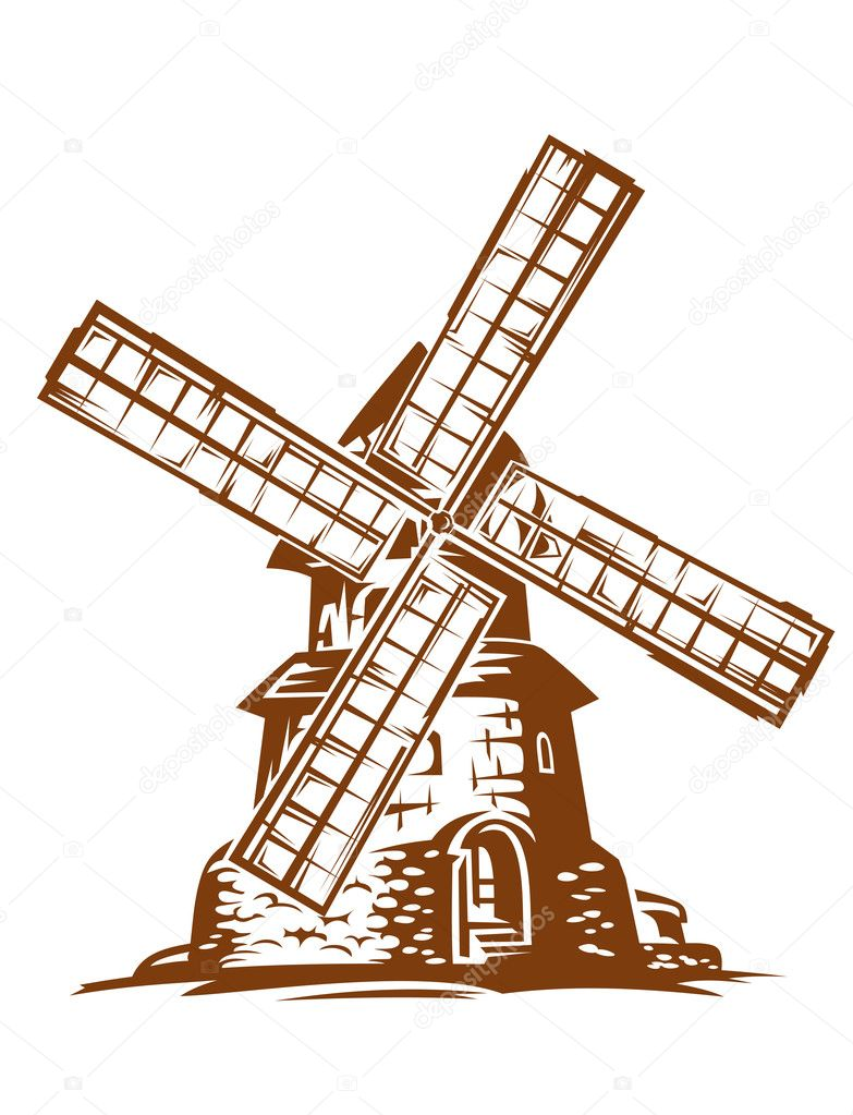 Ancient wind mill  in retro style for medieval concept design — Stock Vector #9452152