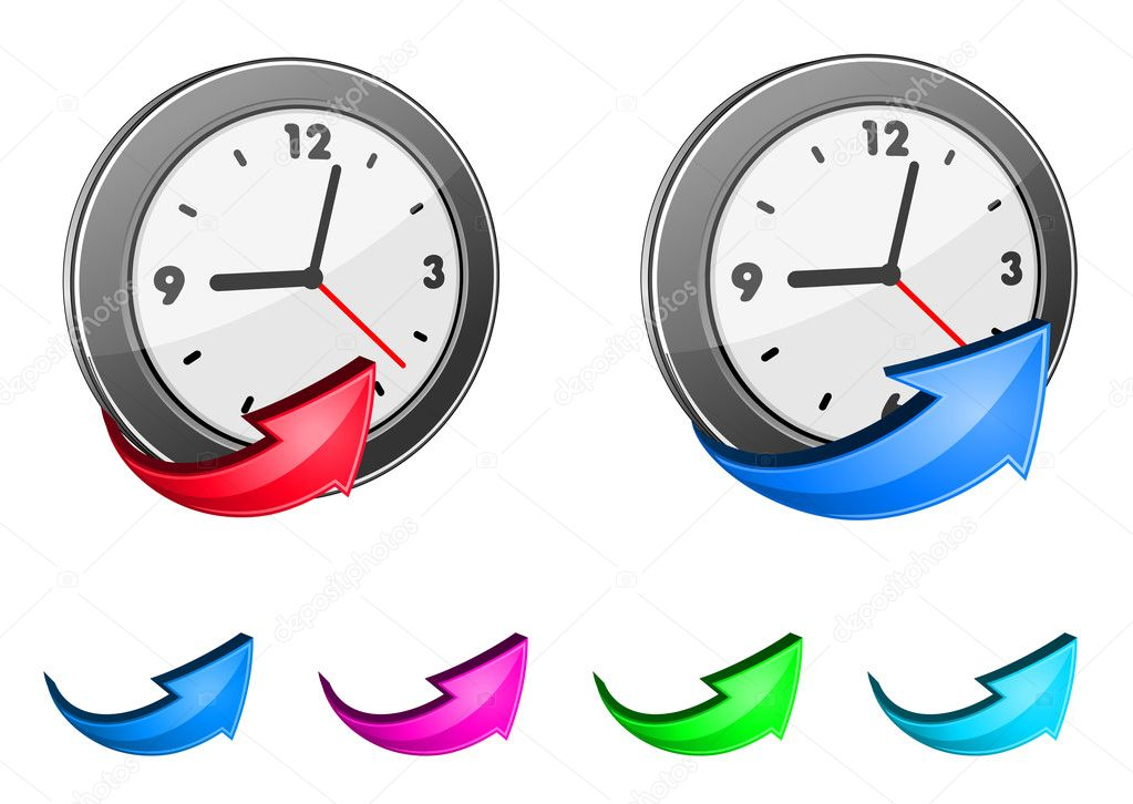 Clock icons and glossy arrow set for design  Stock Vector #9452169