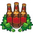 Beer bottles and hop — Stock Vector