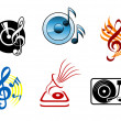 Musical icons and symbols — Stock Vector #9576113