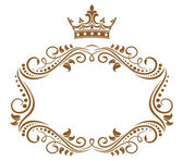 Elegant royal frame with crown — ストックベクタ