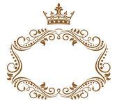 Elegante marco real con corona — Vector de stock