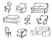éléments vectoriels de meubles — Vecteur