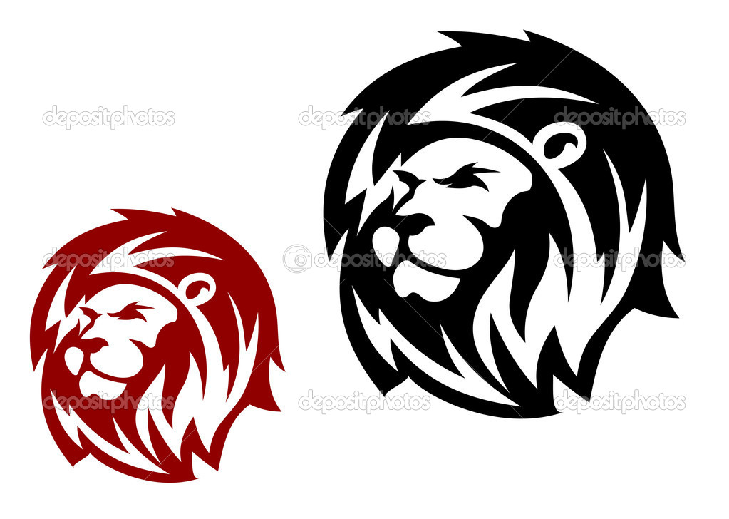 Lion head in two variations for heraldic or mascot design — Stock Vector #9576105