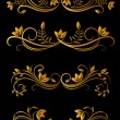 Golden floral elements — Imagen vectorial