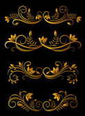 Elementos florales dorados — Vector de stock