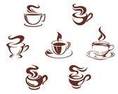 Tazas y tazas de café — Vector de stock