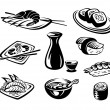 Japan seafood - Stock Vector