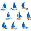 Stock Vector: Yachting and regatta symbols