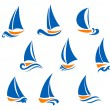 Yachting and regatta symbols - Stock Vector