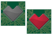 Motherboard heart chip — Stock Vector