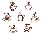 Koffie en thee symbolen — Stockvector