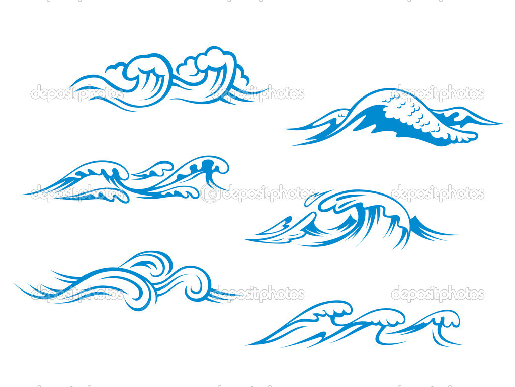 Ocean Wave Cartoon Blue sea waves set for design