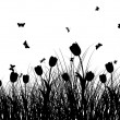 Royalty-Free Stock Vectorielle: Meadow silhouettes
